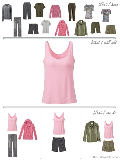how to add a pink tank top to a travel capsule wardrobe in olive and grey