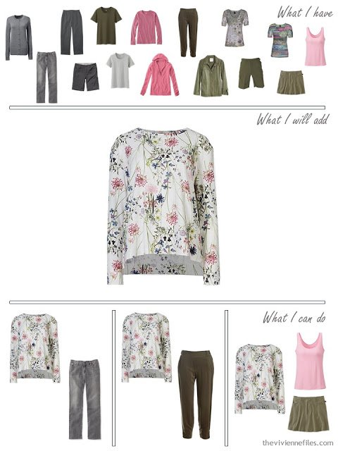 How to add a floral sweatshirt to a grey and olive capsule travel wardrobe