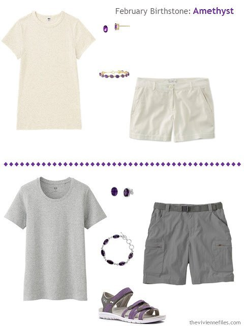 how to wear amethysts with ivory or grey