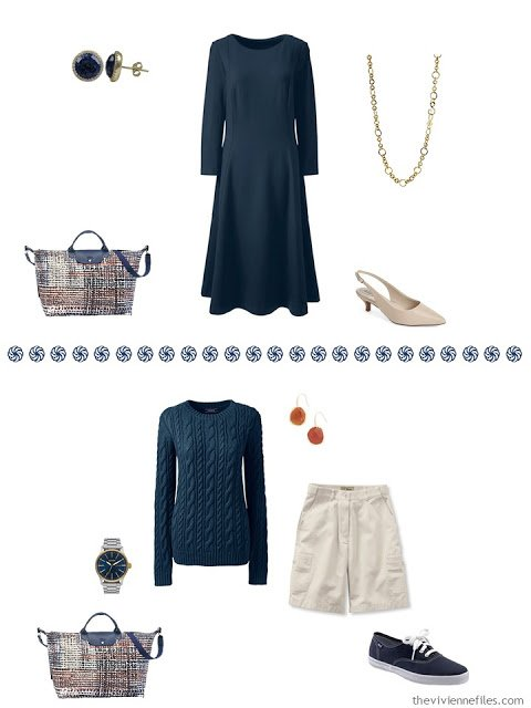 navy dress outfit, navy sweater with khaki shorts outfit