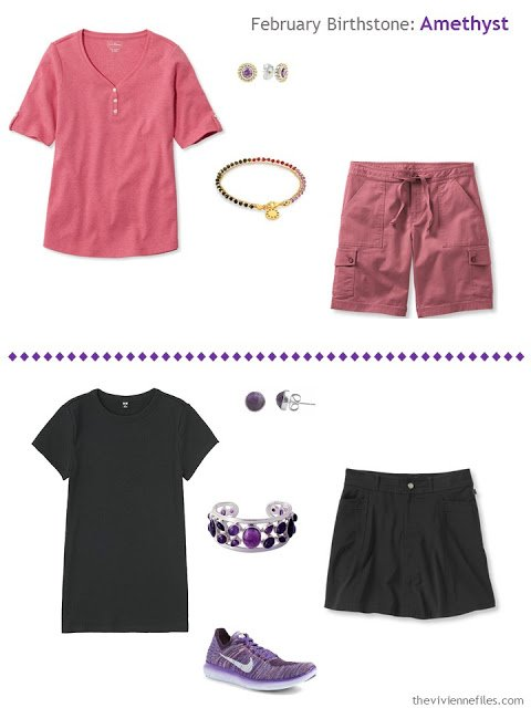 how to wear amethysts with barn red or black