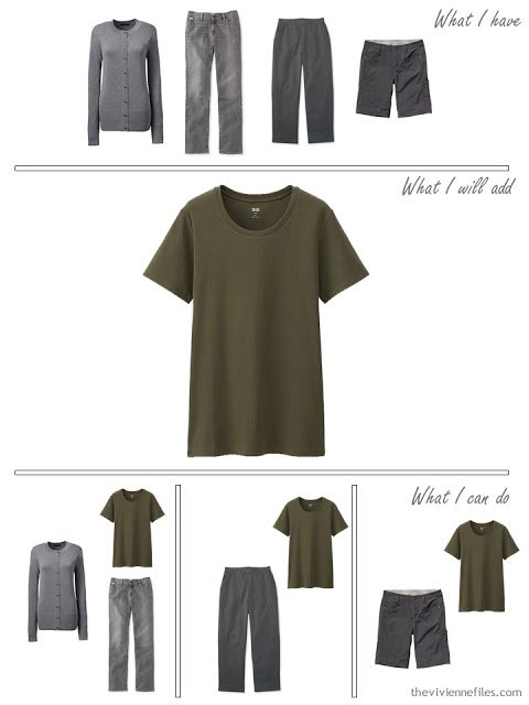 how to add an olive tee shirt to an olive and grey traval capsule wardrobe