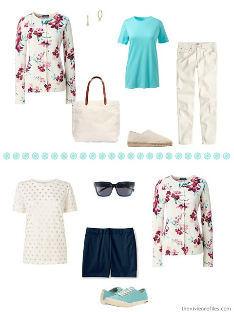 two outfits in aqua, navy and ivory with a floral cardigan