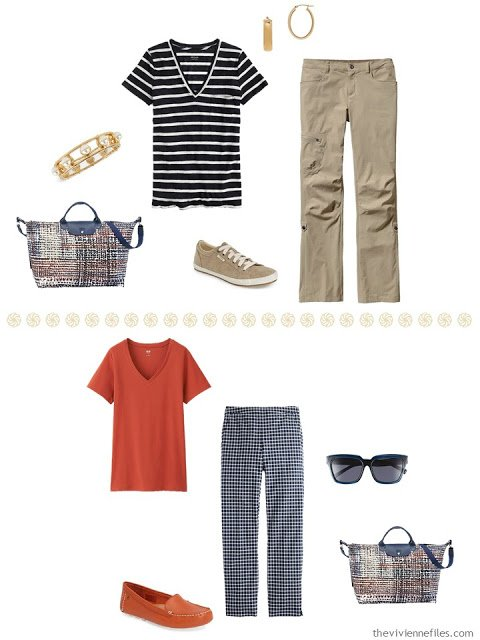 navy striped tee shirt with khaki pants, orange tee with navy and white checked pants