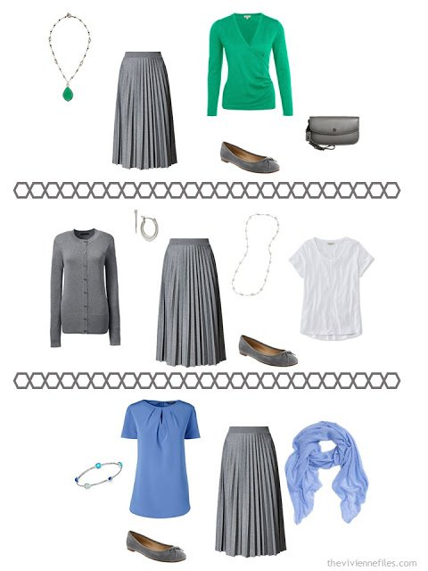 three ways to wear a charcoal grey pleated skirt