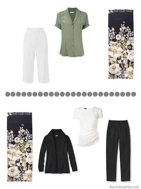 a blouse and capris, and a cardigan, tee and trousers, to wear with Garden Gems scarf from Ted Baker London