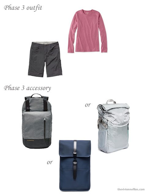 shorts and a pink tee, with a choice of water-resistant nylon backpacks