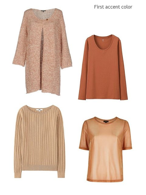 four wardrobe accent pieces in shades of rust and peach