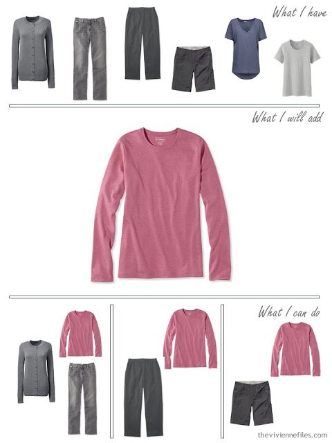 how to add a pink long-sleeved tee shirt to your wardrobe