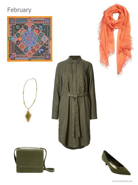 olive dress with olive and orange accessories