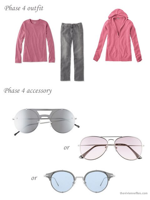 A pink and grey outfit with a selection of pastel sunglasses.