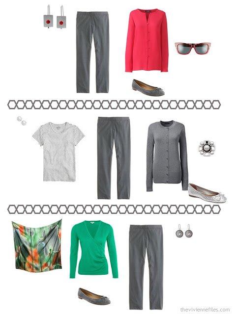 three ways to wear charcoal grey dress pants