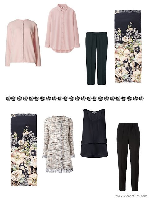 a cardigan, blouse and cropped pants, and a blazer, tank and silk pants, to wear with Garden Gems scarf from Ted Baker London