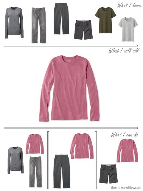 how to add a pink tee shirt to a travel capsule wardrobe in olive and grey