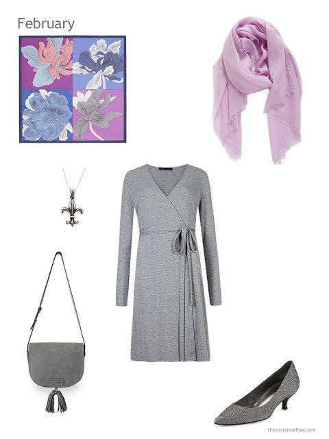 grey dress with grey and orchid accessories