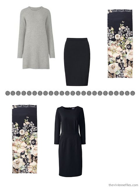 a tunic sweater and skirt, and a dress, to wear with Garden Gems scarf from Ted Baker London