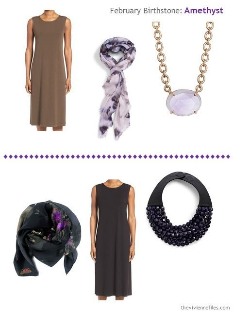 how to wear amethysts with an olive dress or a black dress