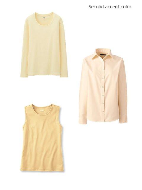 three yellow wardrobe accent pieces