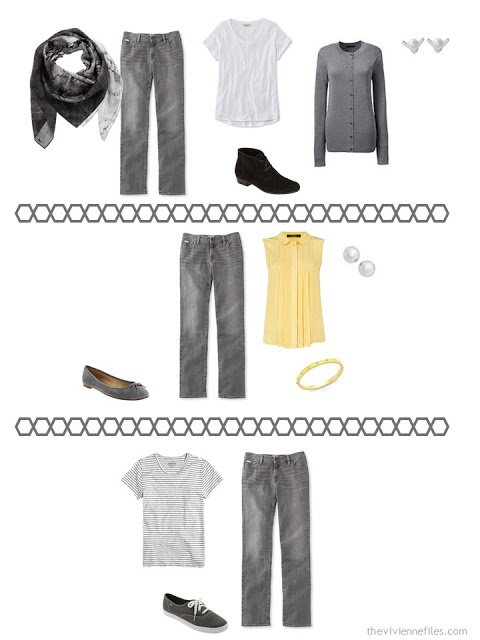 three ways to wear charcoal jeans