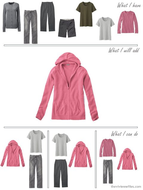 how to add a pink hooded sweatshirt to a travel capsule wardrobe in grey and olive