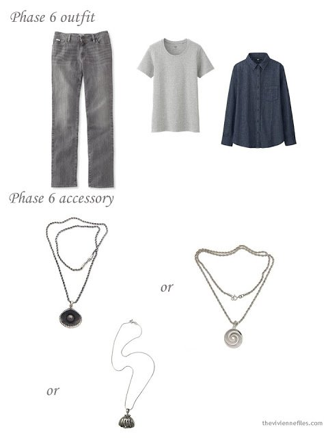 a grey and denim outfit with three choices of silver necklace