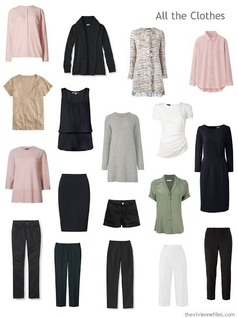 17 piece travel capsule wardrobe in black, blush, sage green and ivory