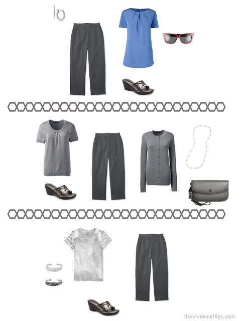 three ways to wear charcoal capris or cropped pants