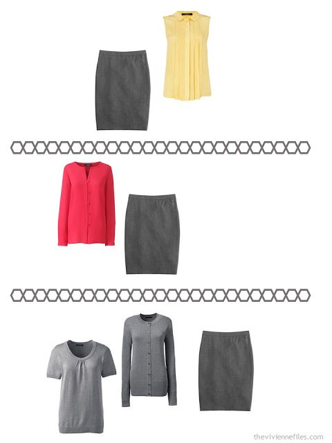 three ways to wear a charcoal grey pencil skirt