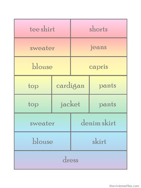 "17 piece ""spectrum of outfits"" wardrobe template"