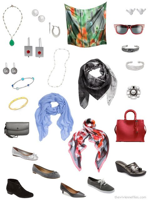accessories for a charcoal grey and brights capsule travel wardrobe