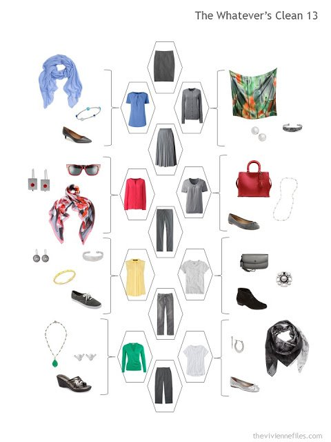 a travel capsule wardrobe with a charcoal grey Backbone and bright accents
