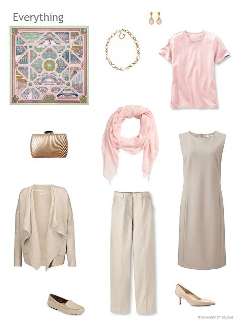 4 piece wardrobe in beige and pink