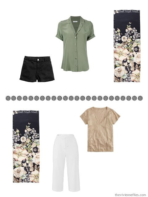a shorts outfit and a capri outfit to wear with the Garden Gems scarf by Ted Baker London