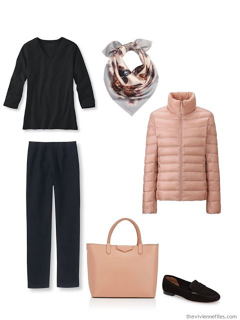 black and peach cool weather travel outfit