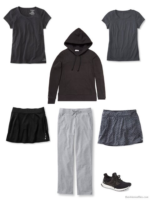 A capsule workout wardrobe in grey and black