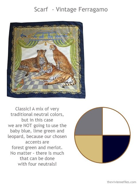 Vintage Ferragamo scarf with style guidelines and updated color palette