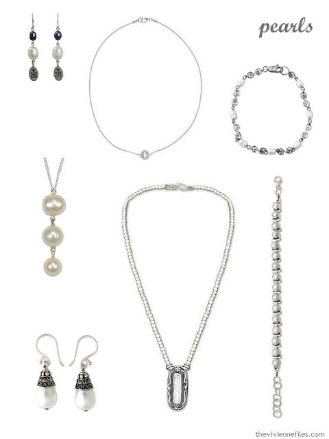 seven pieces of pearl and sterling silver jewelry
