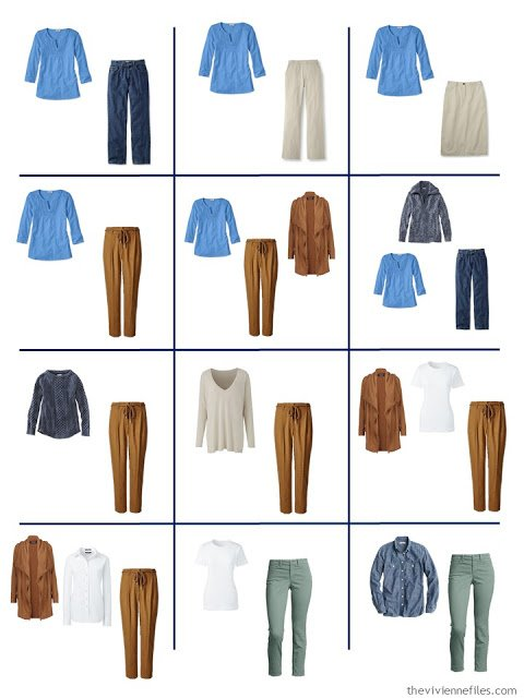 12 outfits from a Four by Four wardrobe with a denim and khaki core, and accents of green, blue and tobacco brown
