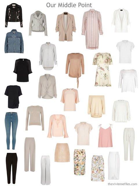 a post-edit 30-piece wardrobe, arranged by color