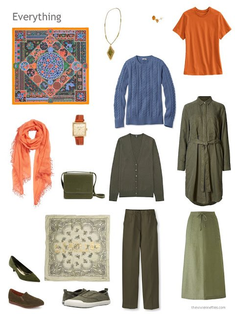 six-piece olive, orange and denim blue capsule wardrobe