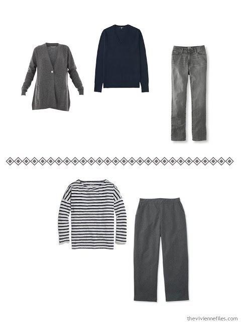 two navy and grey casual outfits