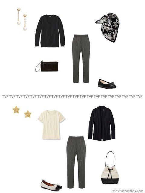 two ways to wear black geometric print pants