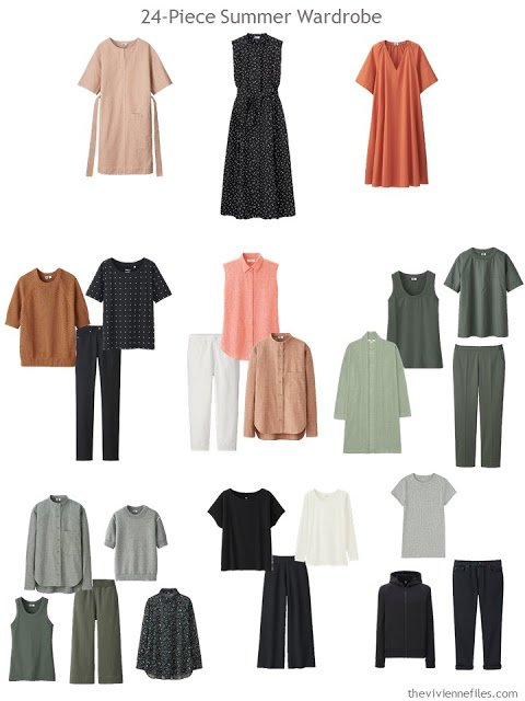 a 24-piece warm-weather wardrobe in black, olive, and shades of rust
