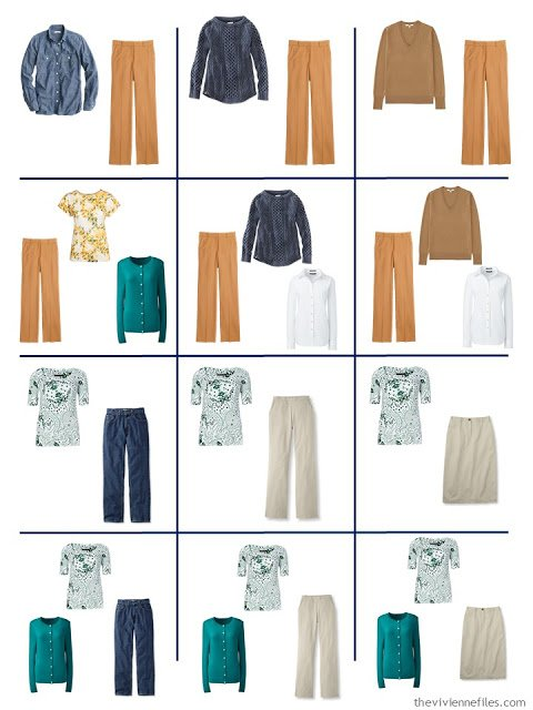 12 outfits taken from a 4 by 4 Wardrobe in denim, khaki, teal, caramel and white