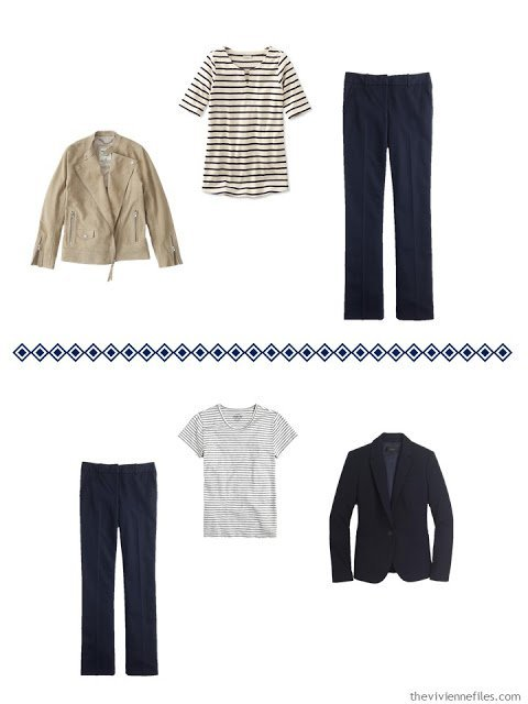 two ways to wear navy dress pants