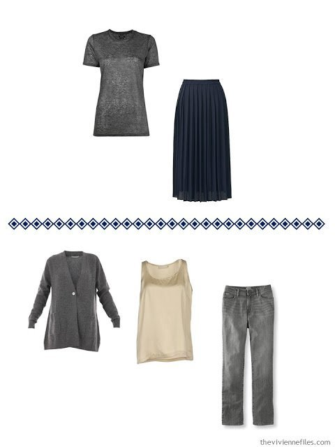 two outfits from a Four by Four Wardrobe in grey, navy, camel and white