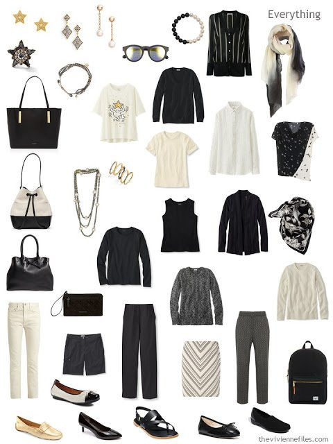 4 by 4 Wardrobe in Ivory and Black with accessories