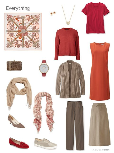six-piece red, orange and light brown capsule wardrobe