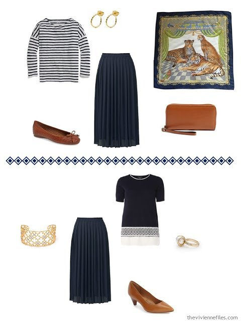 two outfits from a Four by Four wardrobe in grey, navy and camel