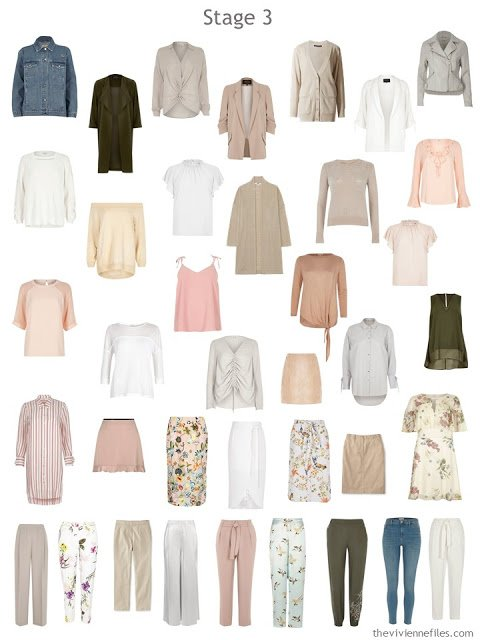 A wardrobe after the addition of a Core of Four in beige or camel